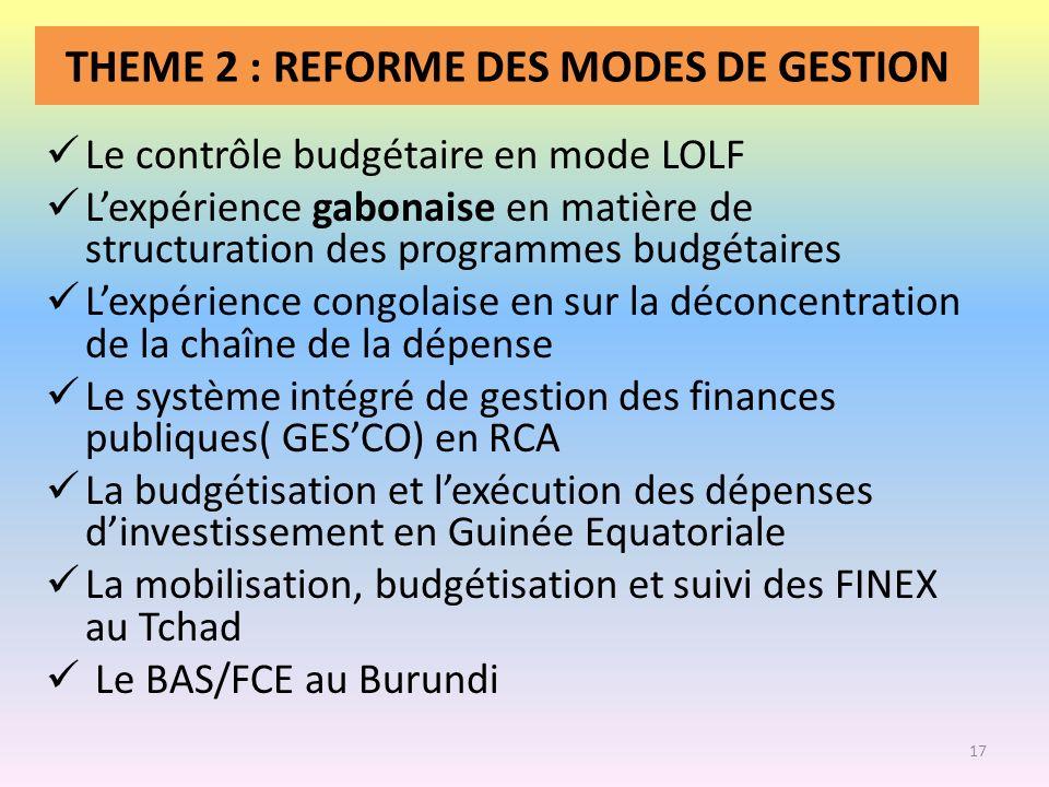 THEME 2 : REFORME DES MODES DE GESTION Le contrôle budgétaire en mode LOLF Lexpérience gabonaise en matière de structuration des programmes budgétaire