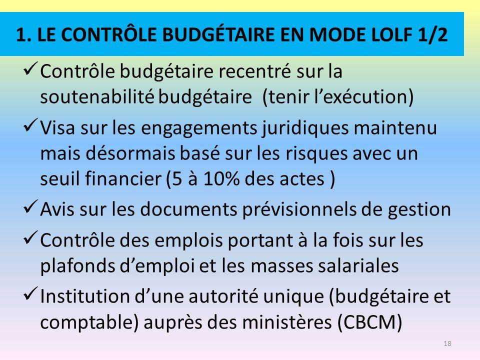 1. LE CONTRÔLE BUDGÉTAIRE EN MODE LOLF 1/2 Contrôle budgétaire recentré sur la soutenabilité budgétaire (tenir lexécution) Visa sur les engagements ju