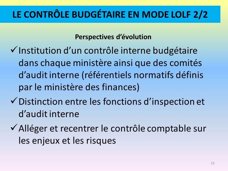 LE CONTRÔLE BUDGÉTAIRE EN MODE LOLF 2/2 Perspectives dévolution Institution dun contrôle interne budgétaire dans chaque ministère ainsi que des comité