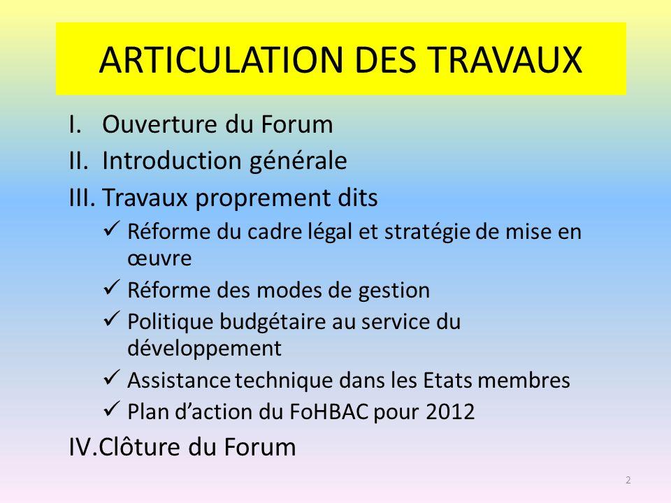 ARTICULATION DES TRAVAUX I.Ouverture du Forum II.Introduction générale III.Travaux proprement dits Réforme du cadre légal et stratégie de mise en œuvr