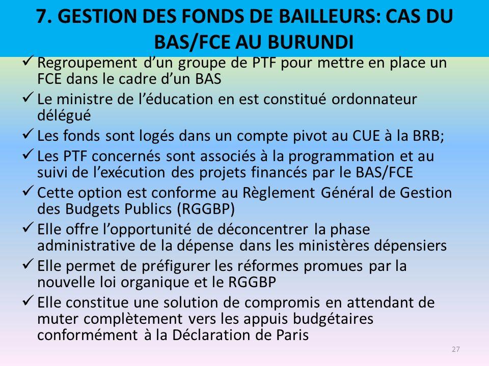 7. GESTION DES FONDS DE BAILLEURS: CAS DU BAS/FCE AU BURUNDI Regroupement dun groupe de PTF pour mettre en place un FCE dans le cadre dun BAS Le minis