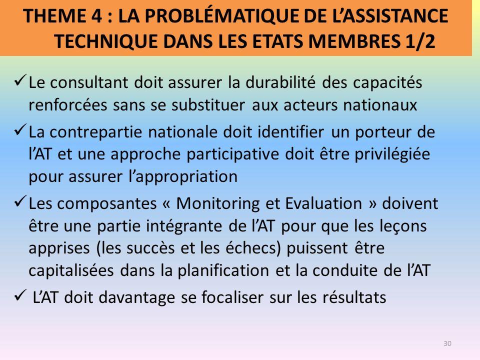 THEME 4 : LA PROBLÉMATIQUE DE LASSISTANCE TECHNIQUE DANS LES ETATS MEMBRES 1/2 Le consultant doit assurer la durabilité des capacités renforcées sans