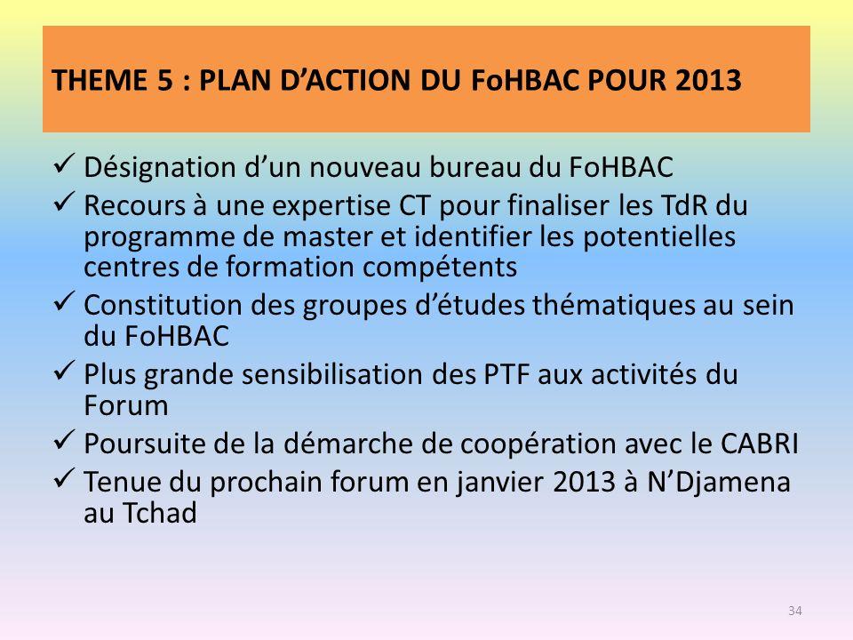 THEME 5 : PLAN DACTION DU FoHBAC POUR 2013 Désignation dun nouveau bureau du FoHBAC Recours à une expertise CT pour finaliser les TdR du programme de