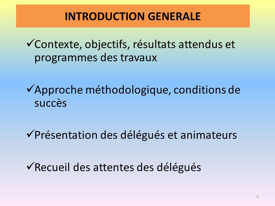 INTRODUCTION GENERALE Contexte, objectifs, résultats attendus et programmes des travaux Approche méthodologique, conditions de succès Présentation des