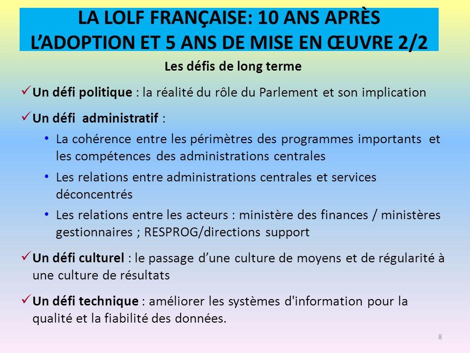 LA LOLF FRANÇAISE: 10 ANS APRÈS LADOPTION ET 5 ANS DE MISE EN ŒUVRE 2/2 Les défis de long terme Un défi politique : la réalité du rôle du Parlement et