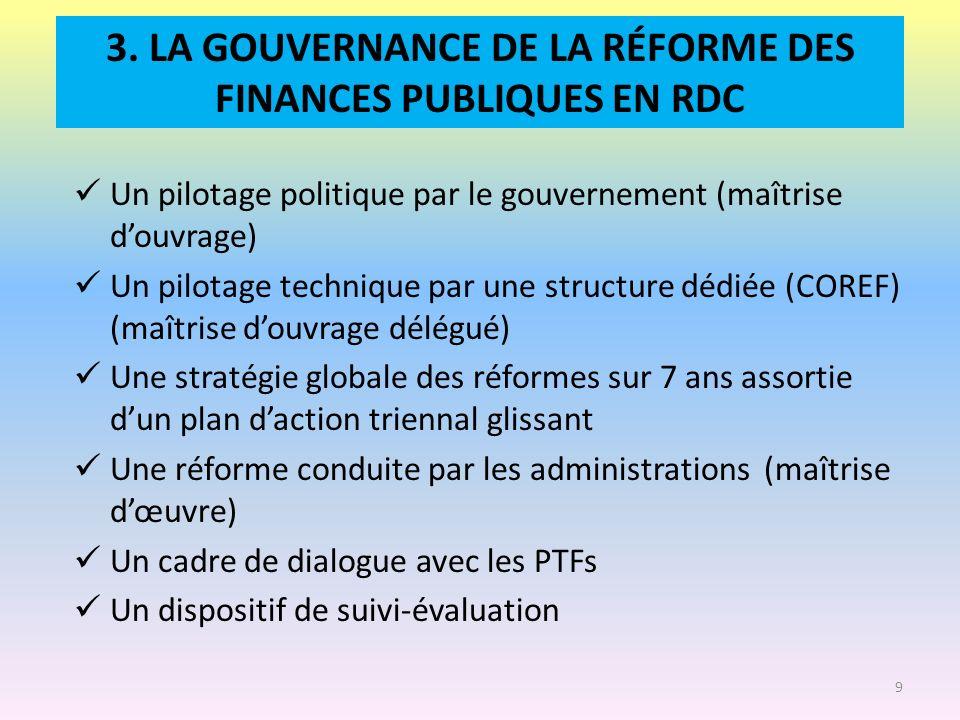 3. LA GOUVERNANCE DE LA RÉFORME DES FINANCES PUBLIQUES EN RDC Un pilotage politique par le gouvernement (maîtrise douvrage) Un pilotage technique par