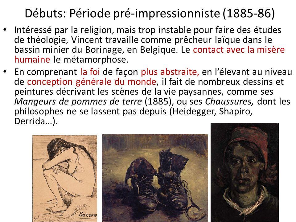 Débuts: Période pré-impressionniste (1885-86) Intéressé par la religion, mais trop instable pour faire des études de théologie, Vincent travaille comm