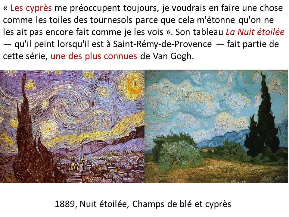 1889, Nuit étoilée, Champs de blé et cyprès « Les cyprès me préoccupent toujours, je voudrais en faire une chose comme les toiles des tournesols parce que cela m étonne qu on ne les ait pas encore fait comme je les vois ».