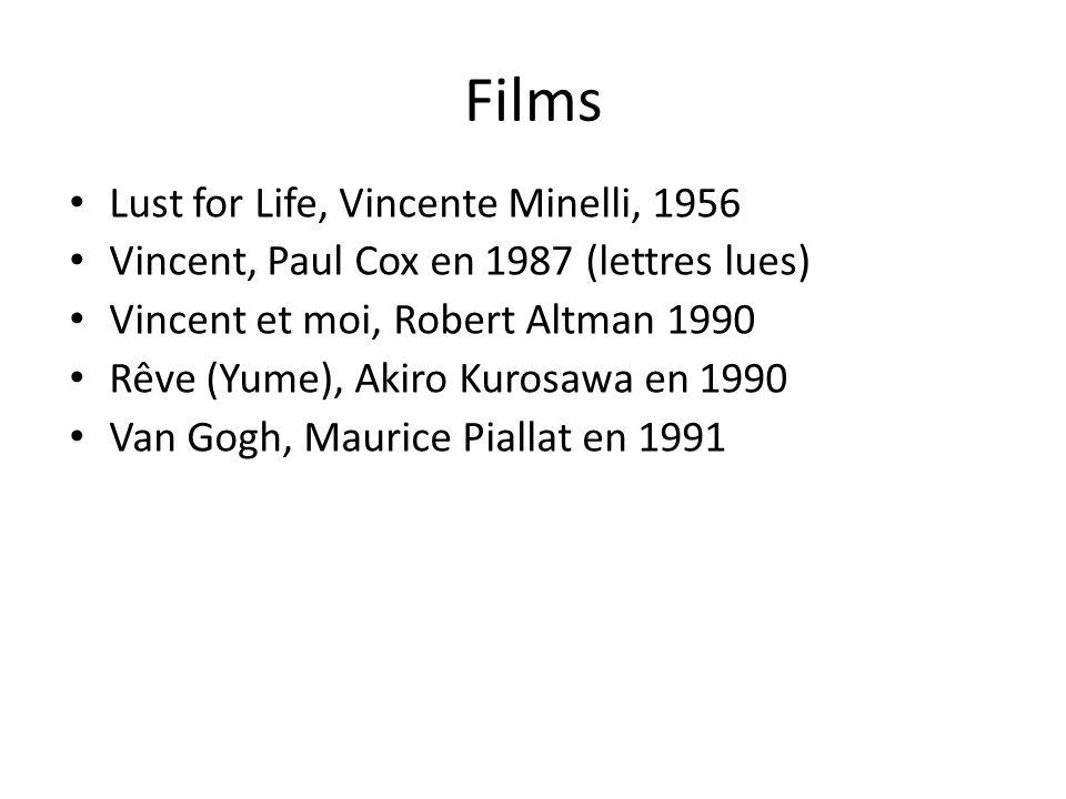Films Lust for Life, Vincente Minelli, 1956 Vincent, Paul Cox en 1987 (lettres lues) Vincent et moi, Robert Altman 1990 Rêve (Yume), Akiro Kurosawa en