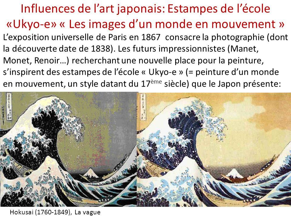 Influences de lart japonais: Estampes de lécole «Ukyo-e» « Les images dun monde en mouvement » Hokusai (1760-1849), La vague Lexposition universelle de Paris en 1867 consacre la photographie (dont la découverte date de 1838).