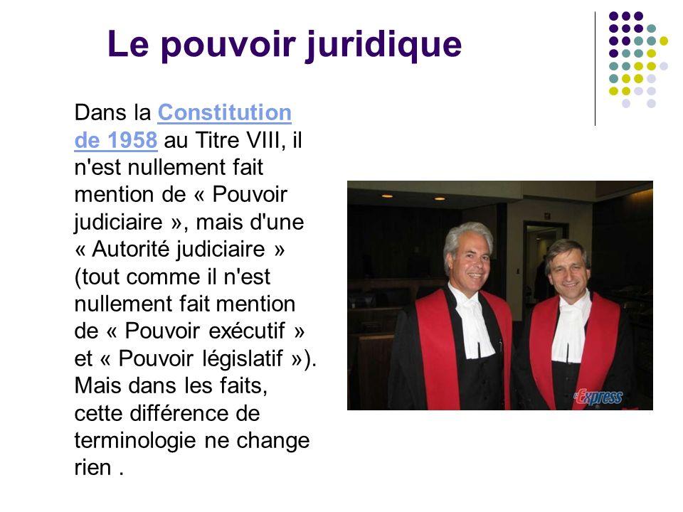 Le pouvoir juridique Dans la Constitution de 1958 au Titre VIII, il n'est nullement fait mention de « Pouvoir judiciaire », mais d'une « Autorité judi