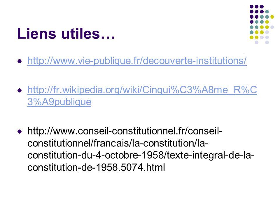 Liens utiles… http://www.vie-publique.fr/decouverte-institutions/ http://fr.wikipedia.org/wiki/Cinqui%C3%A8me_R%C 3%A9publique http://fr.wikipedia.org