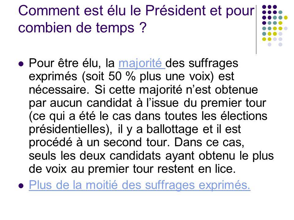 Comment est élu le Président et pour combien de temps ? Pour être élu, la majorité des suffrages exprimés (soit 50 % plus une voix) est nécessaire. Si