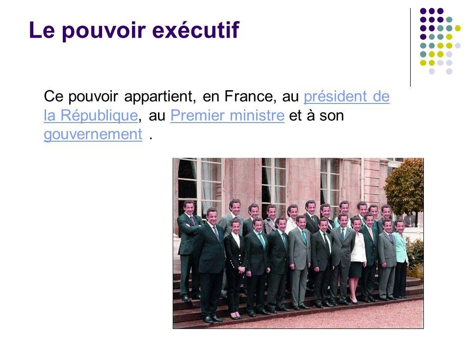 Le pouvoir exécutif Ce pouvoir appartient, en France, au président de la République, au Premier ministre et à son gouvernement.président de la Républi