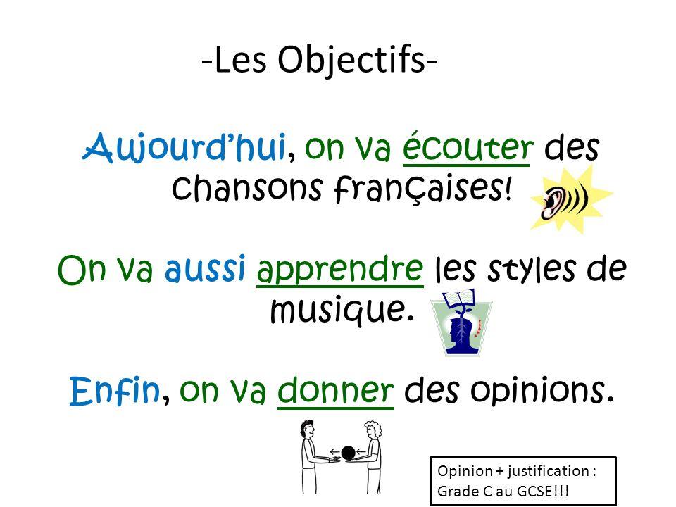 Aujourdhui, on va écouter des chansons françaises! On va aussi apprendre les styles de musique. Enfin, on va donner des opinions. -Les Objectifs- Opin