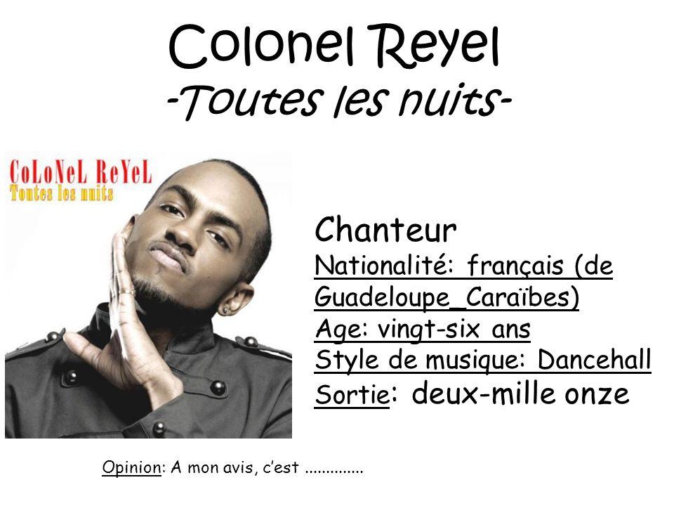 Zaho -Cest chelou Chanteuse Nationalité: algérienne Age: trente et un ans Style de musique:rnb Sortie : deux-mille neuf Opinion: A mon avis, cest..............