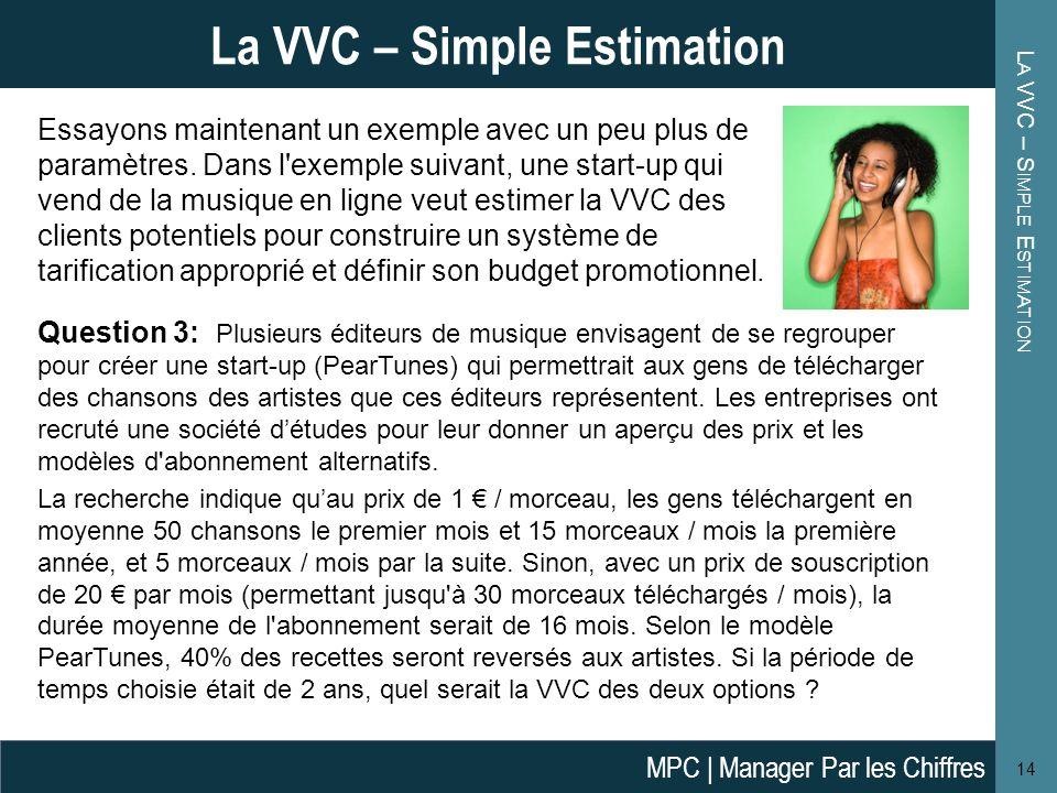 L A VVC – S IMPLE E STIMATION 14 La VVC – Simple Estimation Essayons maintenant un exemple avec un peu plus de paramètres. Dans l'exemple suivant, une