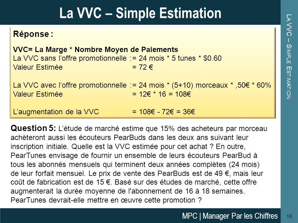 L A VVC – S IMPLE E STIMATION 16 La VVC – Simple Estimation Question 5: Létude de marché estime que 15% des acheteurs par morceau achèteront aussi les
