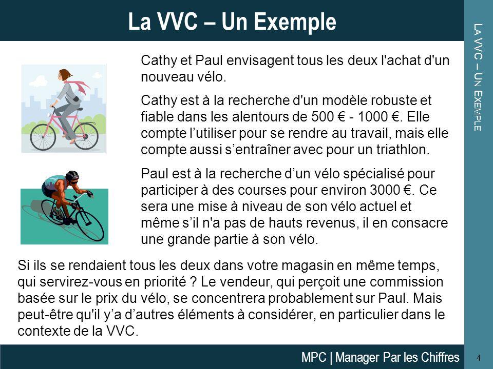 L A VVC – U N E XEMPLE 4 La VVC – Un Exemple Cathy et Paul envisagent tous les deux l'achat d'un nouveau vélo. Cathy est à la recherche d'un modèle ro