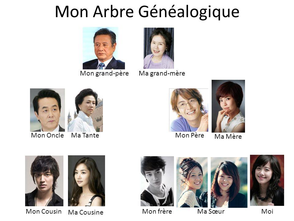 Mon Arbre Généalogique MoiMa SœurMon frère Ma Cousine Mon Cousin Mon Père Ma Mère Ma TanteMon Oncle Ma grand-mèreMon grand-père
