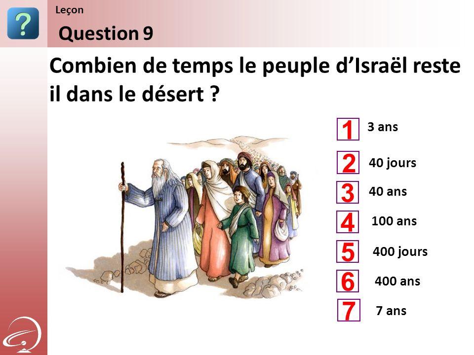 3 ans 40 ans 100 ans Combien de temps le peuple dIsraël reste il dans le désert ? Question 9 Leçon 40 jours 400 jours 1 3 4 2 5 400 ans 6 7 ans 7