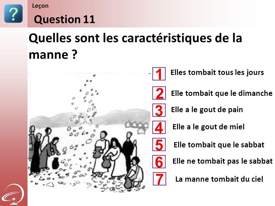 Elles tombait tous les jours Elle a le gout de pain Elle a le gout de miel Quelles sont les caractéristiques de la manne ? Question 11 Leçon Elle tomb