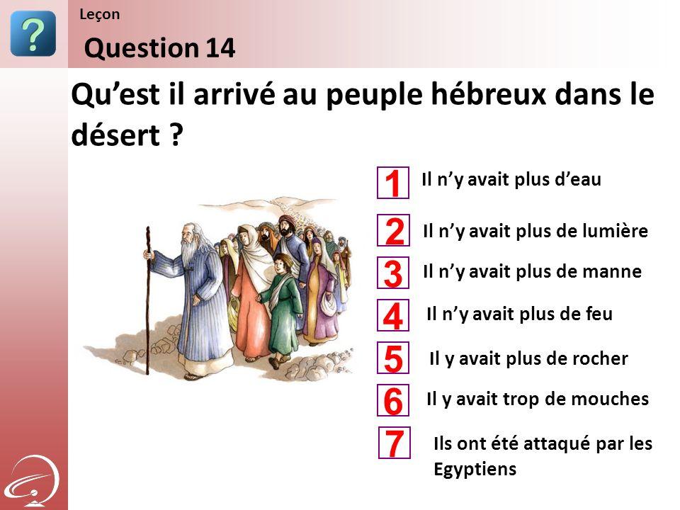 Il ny avait plus deau Il ny avait plus de manne Il ny avait plus de feu Quest il arrivé au peuple hébreux dans le désert ? Question 14 Leçon Il ny ava