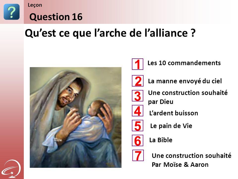 Les 10 commandements Une construction souhaité par Dieu Lardent buisson Quest ce que larche de lalliance ? Question 16 Leçon La manne envoyé du ciel L