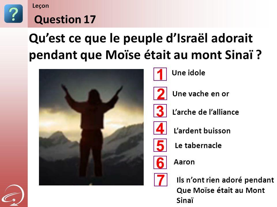 Une idole Larche de lalliance Lardent buisson Quest ce que le peuple dIsraël adorait pendant que Moïse était au mont Sinaï ? Question 17 Leçon Une vac