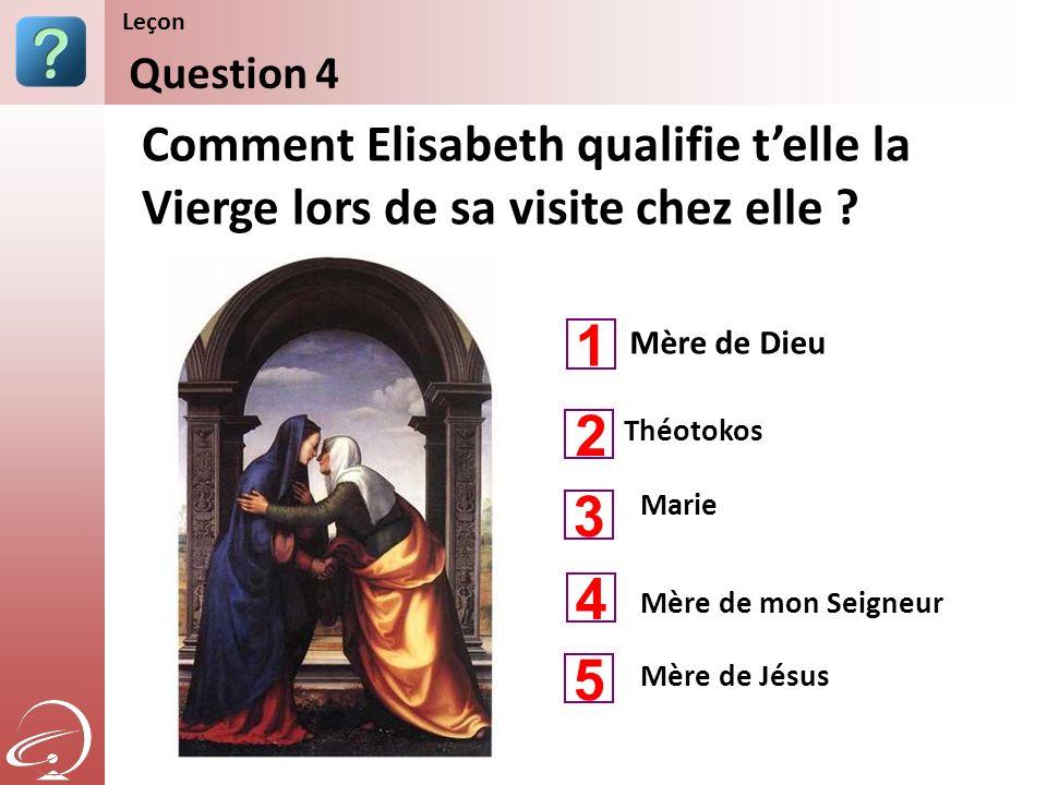 Mère de Dieu Mère de mon Seigneur Comment Elisabeth qualifie telle la Vierge lors de sa visite chez elle ? Question 4 Leçon 1 3 4 2 5 Théotokos Mère d