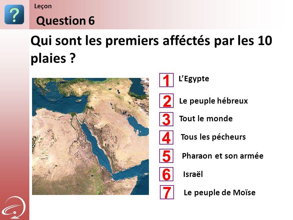 LEgypte Tout le monde Tous les pécheurs Qui sont les premiers afféctés par les 10 plaies ? Question 6 Leçon Le peuple hébreux Pharaon et son armée 1 3