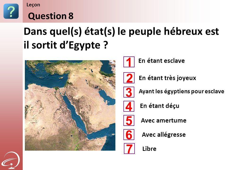 En étant esclave Ayant les égyptiens pour esclave En étant déçu Dans quel(s) état(s) le peuple hébreux est il sortit dEgypte ? Question 8 Leçon En éta