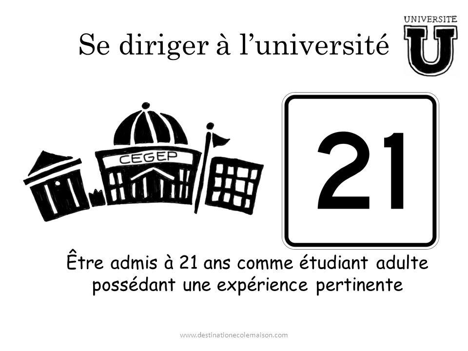 Se diriger à luniversité Être admis à 21 ans comme étudiant adulte possédant une expérience pertinente www.destinationecolemaison.com