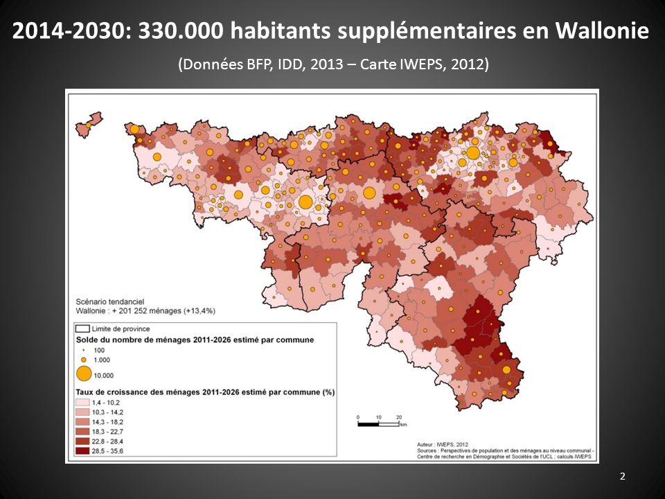 2 2014-2030: 330.000 habitants supplémentaires en Wallonie (Données BFP, IDD, 2013 – Carte IWEPS, 2012)