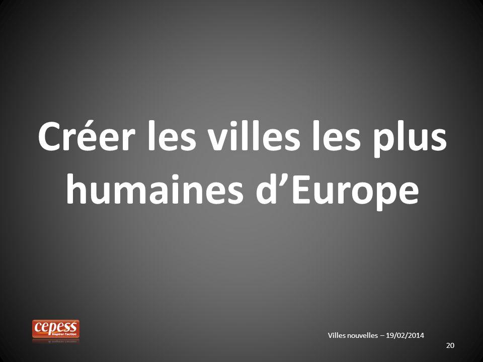 20 Créer les villes les plus humaines dEurope Villes nouvelles – 19/02/2014