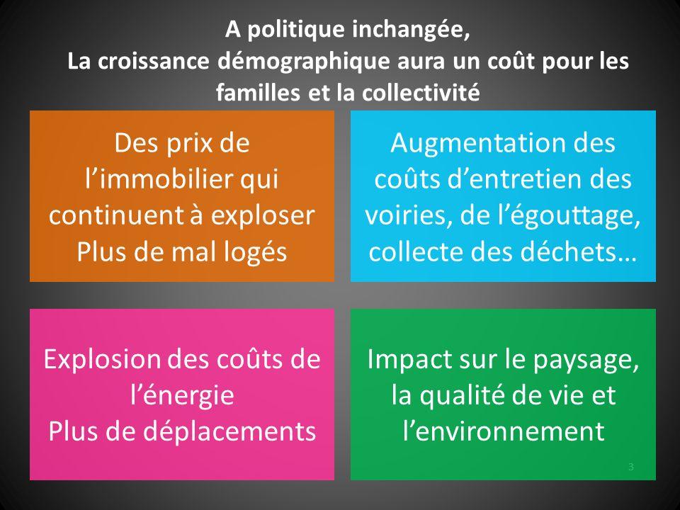 3 A politique inchangée, La croissance démographique aura un coût pour les familles et la collectivité Des prix de limmobilier qui continuent à explos
