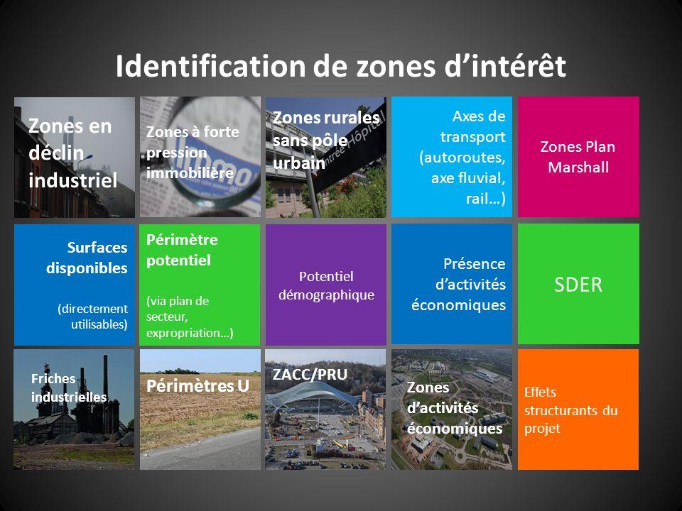34 Identification de zones dintérêt Zones en déclin industriel Zones à forte pression immobilière Zones rurales sans pôle urbain Périmètre potentiel (