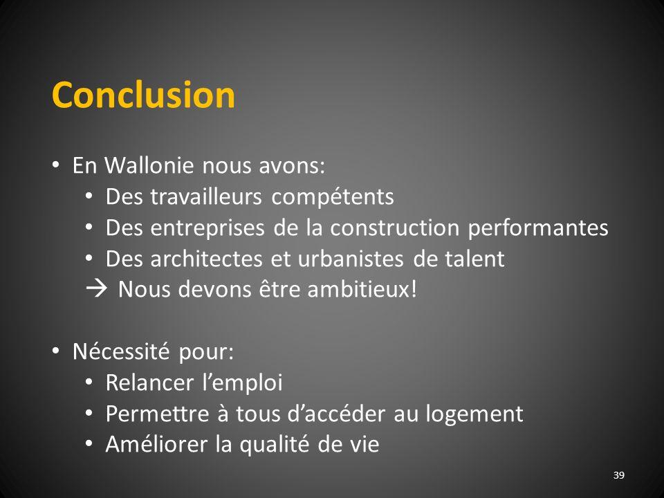 39 Conclusion En Wallonie nous avons: Des travailleurs compétents Des entreprises de la construction performantes Des architectes et urbanistes de talent Nous devons être ambitieux.