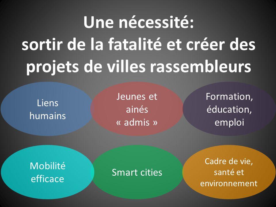 Une nécessité: sortir de la fatalité et créer des projets de villes rassembleurs Liens humains Jeunes et ainés « admis » Smart cities Mobilité efficac
