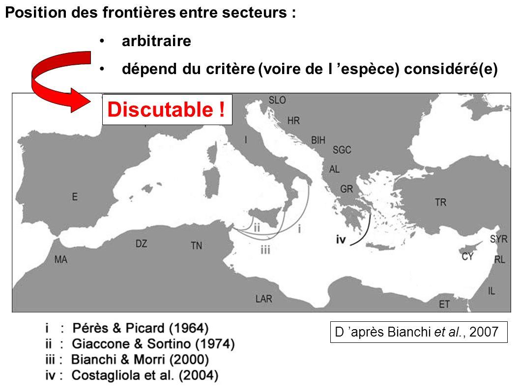 Position des frontières entre secteurs : arbitraire dépend du critère (voire de l espèce) considéré(e) Discutable ! D après Bianchi et al., 2007
