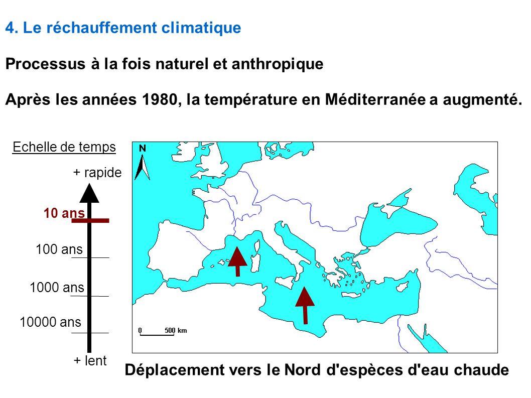 4. Le réchauffement climatique Processus à la fois naturel et anthropique Après les années 1980, la température en Méditerranée a augmenté. Déplacemen