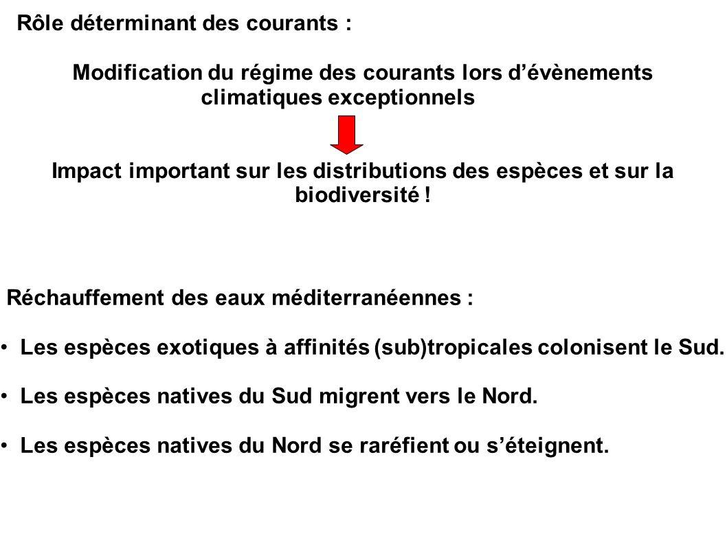 Réchauffement des eaux méditerranéennes : Les espèces exotiques à affinités (sub)tropicales colonisent le Sud. Les espèces natives du Sud migrent vers