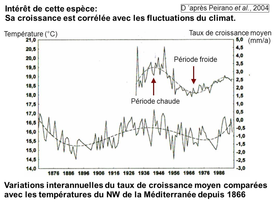 Intérêt de cette espèce: Sa croissance est corrélée avec les fluctuations du climat. Température (°C) Taux de croissance moyen (mm/a) Variations inter