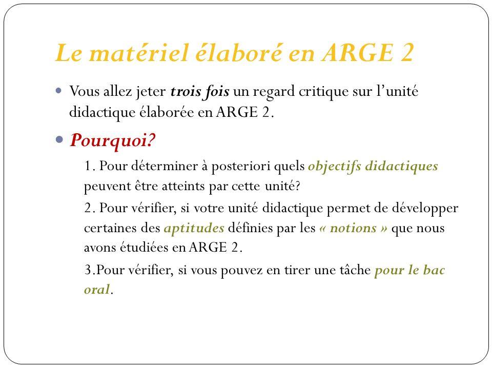 Le matériel élaboré en ARGE 2 Vous allez jeter trois fois un regard critique sur lunité didactique élaborée en ARGE 2.