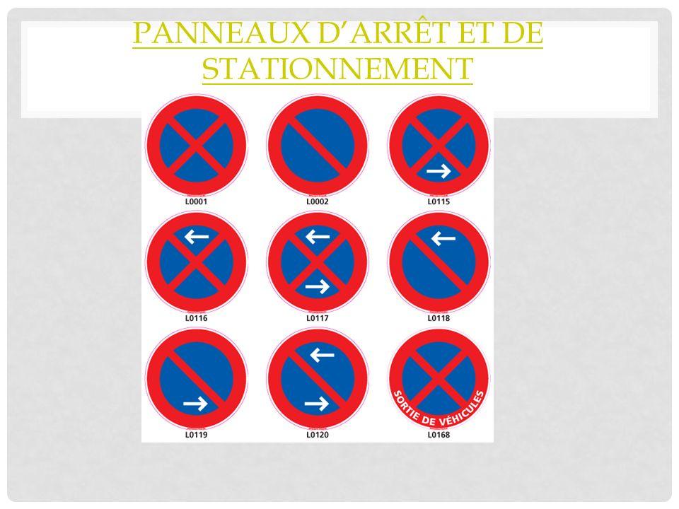 PANNEAUX DARRÊT ET DE STATIONNEMENT