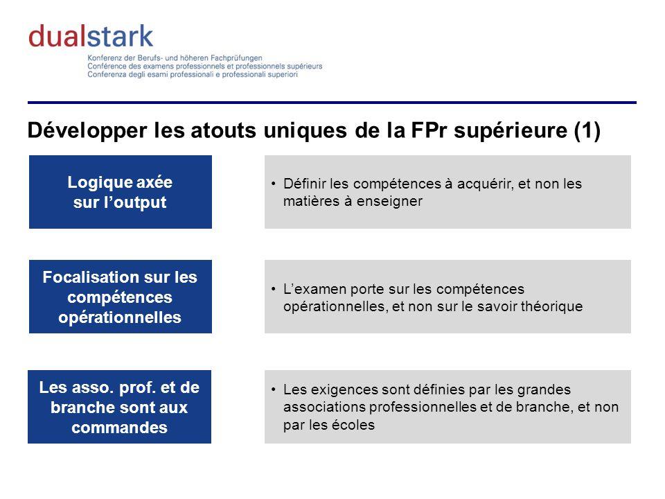 Développer les atouts uniques de la FPr supérieure (1) Logique axée sur loutput Focalisation sur les compétences opérationnelles Les asso.