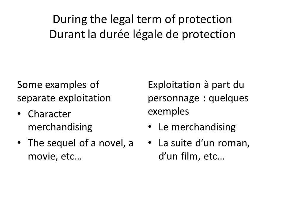 During the legal term of protection Durant la durée légale de protection
