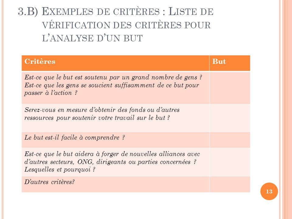 3.B) E XEMPLES DE CRITÈRES : L ISTE DE VÉRIFICATION DES CRITÈRES POUR L ANALYSE D UN BUT 13 CritèresBut Est-ce que le but est soutenu par un grand nombre de gens .