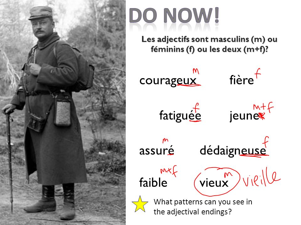 courageuxfière fatiguéejeune assurédédaigneuse faiblevieux What patterns can you see in the adjectival endings.