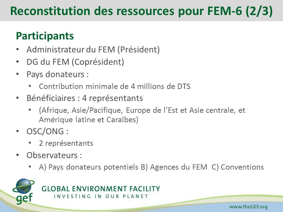 Participants Administrateur du FEM (Président) DG du FEM (Coprésident) Pays donateurs : Contribution minimale de 4 millions de DTS Bénéficiaires : 4 représentants (Afrique, Asie/Pacifique, Europe de lEst et Asie centrale, et Amérique latine et Caraïbes) OSC/ONG : 2 représentants Observateurs : A) Pays donateurs potentiels B) Agences du FEM C) Conventions Reconstitution des ressources pour FEM-6 (2/3)